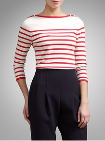 Striped Jumper - neckline: slash/boat neckline; pattern: horizontal stripes; style: standard; secondary colour: ivory; predominant colour: true red; occasions: casual, work; length: standard; fibres: cotton - mix; fit: slim fit; shoulder detail: added shoulder detail; sleeve length: 3/4 length; sleeve style: standard; texture group: knits/crochet; pattern type: knitted - fine stitch; pattern size: standard