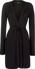Miele Belted Cardigan, Black - neckline: low v-neck; pattern: plain; style: belted; length: below the bottom; predominant colour: black; occasions: casual, work, holiday; fit: slim fit; waist detail: belted waist/tie at waist/drawstring; sleeve length: long sleeve; sleeve style: standard; texture group: knits/crochet; pattern type: knitted - other; pattern size: standard; fibres: viscose/rayon - mix