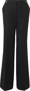 Snaffle Flannel Trousers, Black - length: standard; pattern: plain; pocket detail: small back pockets, pockets at the sides; waist detail: embellishment at waist/feature waistband; waist: high rise; predominant colour: black; occasions: evening, work; fibres: wool - stretch; hip detail: fitted at hip (bottoms); fit: wide leg; pattern type: fabric; pattern size: standard; texture group: other - light to midweight; style: standard; embellishment: chain/metal