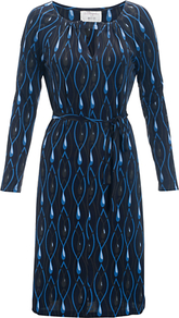 Viola Dress, Jewels Blue - style: shift; length: below the knee; neckline: round neck; waist detail: belted waist/tie at waist/drawstring; predominant colour: navy; occasions: evening; fit: body skimming; fibres: viscose/rayon - 100%; sleeve length: long sleeve; sleeve style: standard; pattern type: fabric; pattern: patterned/print; texture group: jersey - stretchy/drapey
