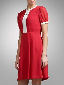 Contrast Trim Silk Dress - sleeve style: puffed; fit: fitted at waist; pattern: plain; waist detail: fitted waist; predominant colour: true red; occasions: casual, evening, work; length: just above the knee; style: fit &amp; flare; fibres: silk - 100%; neckline: crew; sleeve length: short sleeve; texture group: silky - light; trends: glamorous day shifts; pattern type: fabric; pattern size: standard