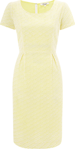 Cutwork Dress, Yellow - style: shift; neckline: round neck; fit: tailored/fitted; pattern: plain; predominant colour: primrose yellow; occasions: casual, evening, work, occasion, holiday; length: just above the knee; fibres: cotton - 100%; hip detail: sculpting darts/pleats/seams at hip; sleeve length: short sleeve; sleeve style: standard; texture group: lace; trends: glamorous day shifts; pattern type: fabric; pattern size: small & light