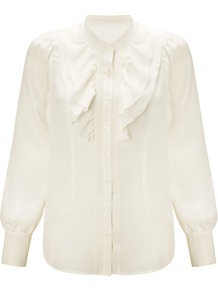 Frill Front Blouse, Cream - pattern: plain; neckline: high neck; style: blouse; bust detail: ruching/gathering/draping/layers/pintuck pleats at bust; predominant colour: white; occasions: casual, evening; length: standard; fibres: silk - 100%; fit: straight cut; sleeve length: long sleeve; sleeve style: standard; texture group: silky - light; pattern type: fabric; pattern size: standard
