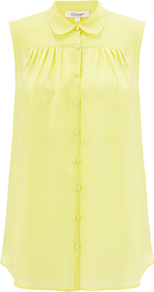 Sleeveless Collar Blouse, Yellow - neckline: shirt collar/peter pan/zip with opening; pattern: plain; sleeve style: sleeveless; style: blouse; bust detail: ruching/gathering/draping/layers/pintuck pleats at bust; predominant colour: yellow; occasions: casual, work; length: standard; fibres: silk - 100%; fit: body skimming; sleeve length: sleeveless; texture group: sheer fabrics/chiffon/organza etc.; pattern type: fabric