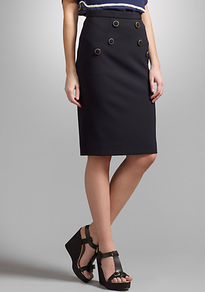 Military Detail Tailored Skirt - pattern: plain; style: pencil; fit: tailored/fitted; waist: high rise; predominant colour: navy; occasions: casual, evening, work, occasion; length: on the knee; fibres: polyester/polyamide - stretch; hip detail: added detail/embellishment at hip; pattern type: fabric; texture group: woven light midweight