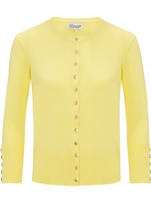 Button Detail Cardigan, Yellow - neckline: round neck; pattern: plain; predominant colour: primrose yellow; occasions: casual, work, holiday; length: standard; style: standard; fibres: cotton - stretch; fit: slim fit; sleeve length: 3/4 length; sleeve style: standard; texture group: knits/crochet; pattern type: knitted - fine stitch