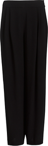 Mary Trousers, Black - length: standard; pattern: plain; waist: high rise; predominant colour: black; occasions: evening, work; fibres: viscose/rayon - 100%; hip detail: front pleats at hip level; texture group: crepes; fit: wide leg; pattern type: fabric; style: standard
