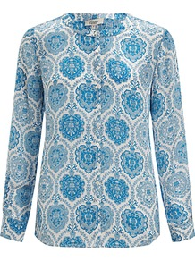 Tile Print Silk Blouse, Blue - style: blouse; predominant colour: royal blue; occasions: casual, evening, work; length: standard; fibres: silk - 100%; fit: straight cut; neckline: crew; sleeve length: long sleeve; sleeve style: standard; texture group: sheer fabrics/chiffon/organza etc.; pattern type: fabric; pattern size: big & busy; pattern: patterned/print
