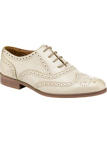 Lavendar Leather Wingtip Brogues, White - predominant colour: stone; occasions: casual, work; material: leather; heel height: flat; toe: round toe; style: brogues; finish: plain; pattern: patterned/print