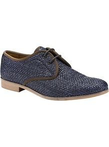 Peony Raffia Lace Up Shoes, Navy - predominant colour: navy; occasions: casual, work, holiday; material: macrame/raffia/straw; heel height: flat; toe: round toe; style: brogues; finish: plain; pattern: colourblock