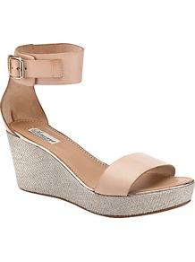 Iris Leather Cutaway Sandals, Nude - predominant colour: nude; occasions: casual, evening, work, holiday; material: leather; heel height: mid; embellishment: buckles; ankle detail: ankle strap; heel: wedge; toe: open toe/peeptoe; style: standard; finish: plain; pattern: two-tone