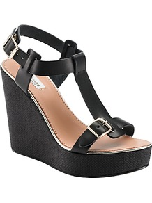Lilac Wedge Heel T Bar Sandals, Black - predominant colour: black; occasions: casual, evening, holiday; material: leather; embellishment: buckles; ankle detail: ankle strap; heel: wedge; toe: open toe/peeptoe; style: standard; finish: plain; pattern: plain; heel height: very high