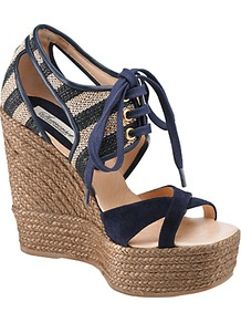 Wisteria Lace Up Wedge Sandals, Navy - predominant colour: navy; secondary colour: stone; occasions: casual, evening, holiday; material: suede; heel: wedge; toe: open toe/peeptoe; style: standard; trends: striking stripes; finish: plain; pattern: striped; heel height: very high