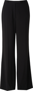 Satin Crepe Wide Trousers, Black - length: standard; pattern: plain; waist: high rise; predominant colour: black; occasions: evening, work; fibres: polyester/polyamide - mix; fit: wide leg; pattern type: fabric; pattern size: standard; texture group: woven light midweight; style: standard