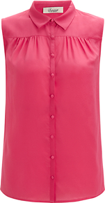 Sleeveless Collar Blouse, Pink - neckline: shirt collar/peter pan/zip with opening; pattern: plain; sleeve style: sleeveless; style: shirt; bust detail: ruching/gathering/draping/layers/pintuck pleats at bust; predominant colour: hot pink; occasions: casual, evening, work, holiday; length: standard; fibres: silk - 100%; fit: straight cut; sleeve length: sleeveless; texture group: sheer fabrics/chiffon/organza etc.; pattern type: fabric