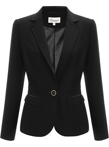 Tailored Jacket, Black - pattern: plain; style: single breasted blazer; collar: standard lapel/rever collar; predominant colour: black; occasions: casual, evening, work, occasion; length: standard; fit: tailored/fitted; fibres: polyester/polyamide - 100%; back detail: back vent/flap at back; sleeve length: long sleeve; sleeve style: standard; collar break: low/open; pattern type: fabric; texture group: jersey - stretchy/drapey