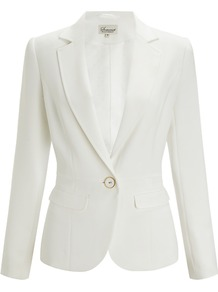 Tailored Jacket, Cream - pattern: plain; style: single breasted blazer; collar: standard lapel/rever collar; predominant colour: white; occasions: evening, work, occasion; length: standard; fit: tailored/fitted; fibres: polyester/polyamide - 100%; sleeve length: long sleeve; sleeve style: standard; collar break: medium; pattern type: fabric; texture group: woven light midweight