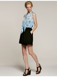 Tailored Shorts, Black - pattern: plain; style: shorts; waist: high rise; length: short shorts; predominant colour: black; occasions: casual, evening, work; fibres: polyester/polyamide - 100%; hip detail: front pleats at hip level; fit: straight leg; pattern type: fabric; texture group: jersey - stretchy/drapey