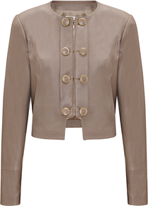 Button Detail Leather Jacket, Mink - pattern: plain; style: double breasted military jacket; collar: round collar/collarless; length: cropped; predominant colour: taupe; occasions: casual, evening; fit: straight cut (boxy); fibres: leather - 100%; sleeve length: long sleeve; sleeve style: standard; texture group: leather; collar break: high; pattern type: fabric