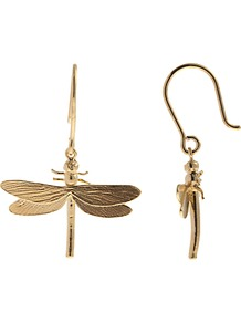 22ct Gold Vermeil Dragonfly Hook Earrings - predominant colour: gold; occasions: casual, evening, work, occasion, holiday; style: drop; length: mid; size: standard; material: chain/metal; fastening: pierced; trends: metallics; finish: metallic