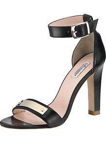 Primrose Leather Block Stiletto Sandals - predominant colour: black; occasions: evening, work, occasion; material: leather; heel height: high; ankle detail: ankle strap; heel: stiletto; toe: open toe/peeptoe; style: standard; finish: plain; pattern: plain; embellishment: chain/metal