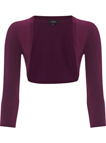 Paulina Bolero, Dahlia - style: bolero/shrug; collar: shawl/waterfall; length: cropped; fit: slim fit; predominant colour: aubergine; occasions: casual; fibres: polyester/polyamide - stretch; sleeve length: 3/4 length; sleeve style: standard; collar break: low/open; texture group: jersey - stretchy/drapey