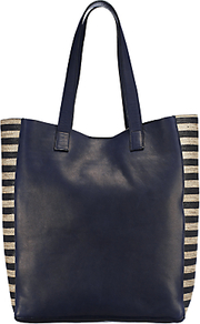 Camellia Raw Edge Tote - secondary colour: white; predominant colour: navy; occasions: casual, work; type of pattern: standard; style: tote; length: handle; size: standard; material: leather; finish: plain; pattern: horizontal stripes