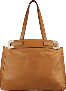 Crocus Metal Trim Hand Held Handbag - predominant colour: tan; occasions: casual, work; type of pattern: standard; style: tote; length: handle; size: standard; material: leather; pattern: plain; finish: plain; embellishment: chain/metal