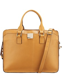 Dahlia Large Satchel Handbag, Tan - predominant colour: mustard; occasions: casual, work; type of pattern: standard; style: satchel; length: handle; size: standard; material: leather; pattern: plain; finish: plain