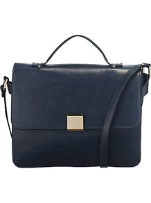Fuchsia Medium Satchel Handbag, Navy - predominant colour: navy; occasions: casual, work; type of pattern: standard; style: messenger; length: across body/long; size: standard; material: leather; pattern: plain; finish: plain