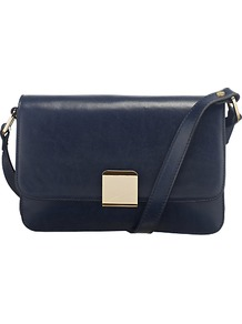 Olive Mini Satchel Handbag - predominant colour: navy; occasions: casual, work; type of pattern: standard; style: messenger; length: across body/long; size: small; material: leather; pattern: plain; finish: plain
