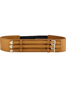 Wide Belmont Belt - predominant colour: tan; occasions: casual, evening, work; type of pattern: standard; style: classic; size: wide; worn on: waist; material: leather; pattern: plain; finish: plain; embellishment: buckles