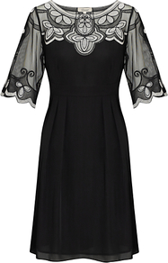 Mesh Embroidered Dress, Black - style: shift; neckline: round neck; fit: tailored/fitted; pattern: plain; bust detail: added detail/embellishment at bust; waist detail: fitted waist; predominant colour: black; occasions: evening; length: just above the knee; fibres: silk - 100%; shoulder detail: added shoulder detail; sleeve length: half sleeve; sleeve style: standard; texture group: sheer fabrics/chiffon/organza etc.; pattern type: fabric; embellishment: embroidered