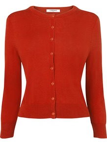 Betty Classic Cardigan - neckline: round neck; pattern: plain; predominant colour: terracotta; occasions: casual, work; length: standard; style: standard; fibres: silk - mix; fit: standard fit; sleeve length: 3/4 length; sleeve style: standard; texture group: knits/crochet; pattern type: knitted - other; pattern size: standard