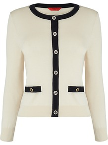 Bay Contrast Trim Cardigan - neckline: round neck; pattern: plain; bust detail: buttons at bust (in middle at breastbone)/zip detail at bust; predominant colour: ivory; occasions: casual, evening, work; length: standard; style: standard; fibres: silk - mix; fit: standard fit; waist detail: front pockets at waist level; sleeve length: long sleeve; sleeve style: standard; texture group: knits/crochet; pattern type: knitted - other; pattern size: standard