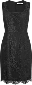 Belitta Fitted Dress - style: shift; neckline: low v-neck; pattern: plain; sleeve style: sleeveless; waist detail: fitted waist; predominant colour: black; occasions: evening, work, occasion; length: just above the knee; fit: body skimming; fibres: polyester/polyamide - 100%; hip detail: sculpting darts/pleats/seams at hip; sleeve length: sleeveless; texture group: lace; trends: glamorous day shifts; pattern type: fabric; pattern size: standard