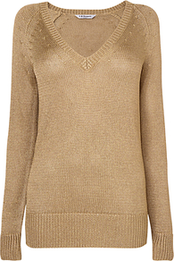 Edith Lurex Jumper - neckline: low v-neck; pattern: plain; length: below the bottom; style: standard; hip detail: fitted at hip; predominant colour: gold; occasions: casual, evening, work; fibres: polyester/polyamide - 100%; fit: standard fit; sleeve length: long sleeve; sleeve style: standard; texture group: knits/crochet; trends: metallics; pattern type: knitted - other; pattern size: standard