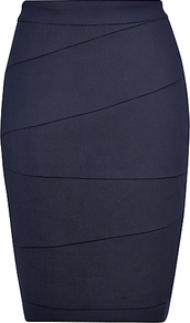 Vally Pencil Skirt, Navy - pattern: plain; style: pencil; fit: tailored/fitted; waist detail: fitted waist; waist: high rise; hip detail: fitted at hip; predominant colour: navy; occasions: casual, evening, work; length: just above the knee; fibres: wool - mix; pattern type: fabric; pattern size: standard; texture group: woven light midweight