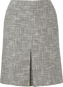Allina Tweed Skirt, White - fit: tailored/fitted; waist: high rise; pattern: herringbone/tweed; predominant colour: mid grey; occasions: casual, work; length: just above the knee; style: a-line; fibres: cotton - 100%; pattern type: fabric; pattern size: standard; texture group: tweed - light/midweight