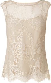 Gabi Lace Top - neckline: round neck; sleeve style: capped; predominant colour: champagne; occasions: evening, occasion; length: standard; style: top; fibres: nylon - 100%; fit: straight cut; sleeve length: sleeveless; texture group: lace; pattern type: fabric; pattern size: standard; pattern: patterned/print