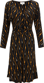 Lotus Dress - style: shift; neckline: low v-neck; back detail: tie detail at back; waist detail: twist front waist detail/nipped in at waist on one side/soft pleats/draping/ruching/gathering waist detail; secondary colour: coral; predominant colour: black; occasions: evening, work; length: on the knee; fit: body skimming; fibres: viscose/rayon - 100%; hip detail: soft pleats at hip/draping at hip/flared at hip; sleeve length: 3/4 length; sleeve style: standard; pattern type: fabric; pattern size: big & light; pattern: patterned/print; texture group: jersey - stretchy/drapey
