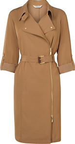 Marva Biker Dress, Tan - style: shift; neckline: shirt collar/peter pan/zip with opening; fit: tailored/fitted; pattern: plain; waist detail: belted waist/tie at waist/drawstring; predominant colour: tan; occasions: casual, evening, work; length: on the knee; sleeve length: 3/4 length; sleeve style: standard; pattern type: fabric; pattern size: standard; texture group: other - light to midweight; fibres: viscose/rayon - mix