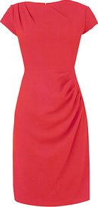 Sabrina Hemmers Dress - style: shift; sleeve style: capped; pattern: plain; waist detail: fitted waist; bust detail: ruching/gathering/draping/layers/pintuck pleats at bust; predominant colour: true red; occasions: evening, work, occasion; length: on the knee; fit: soft a-line; fibres: polyester/polyamide - mix; neckline: crew; hip detail: soft pleats at hip/draping at hip/flared at hip; shoulder detail: flat/draping pleats/ruching/gathering at shoulder; sleeve length: short sleeve; texture group: crepes; pattern type: fabric