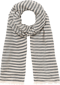 Stripe Modal Scarf - predominant colour: navy; secondary colour: light grey; occasions: casual; type of pattern: standard; style: regular; size: standard; material: fabric; pattern: horizontal stripes