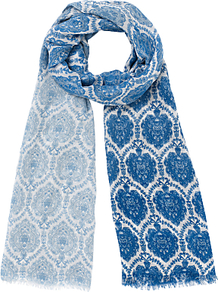 Alice Wallpaper Print Scarf, Blue - secondary colour: white; predominant colour: royal blue; occasions: casual; type of pattern: heavy; style: regular; size: standard; material: fabric; trends: statement prints, modern geometrics; pattern: patterned/print