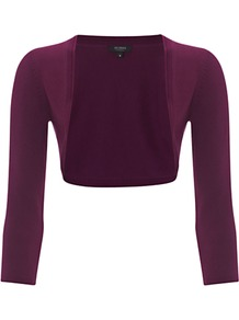 Paulina Bolero, Amethystine - pattern: plain; style: bolero/shrug; bust detail: added detail/embellishment at bust; collar: shawl/waterfall; length: cropped; fit: slim fit; shoulder detail: contrast pattern/fabric at shoulder; predominant colour: aubergine; occasions: casual, evening, work, occasion; fibres: polyester/polyamide - stretch; sleeve length: 3/4 length; sleeve style: standard; collar break: low/open; pattern type: fabric; pattern size: standard; texture group: jersey - stretchy/drapey