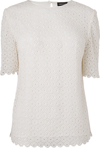 Embroidered Front Blouse, Ivory - pattern: plain; style: blouse; predominant colour: ivory; occasions: evening, work; length: standard; fibres: cotton - 100%; fit: straight cut; neckline: crew; back detail: keyhole/peephole detail at back; sleeve length: short sleeve; sleeve style: standard; texture group: lace; pattern type: fabric; pattern size: standard; embellishment: embroidered