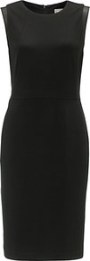Carine Dress, Black - style: shift; fit: tailored/fitted; pattern: plain; sleeve style: sleeveless; waist detail: fitted waist; hip detail: fitted at hip; shoulder detail: contrast pattern/fabric at shoulder; predominant colour: black; occasions: evening, work, occasion; length: on the knee; fibres: polyester/polyamide - stretch; neckline: crew; sleeve length: sleeveless; texture group: crepes; pattern type: fabric