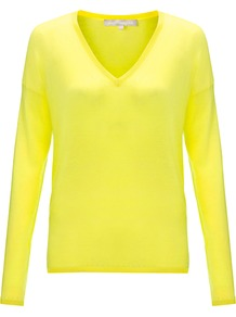 Navona Jumper, Citron - neckline: v-neck; pattern: plain; style: standard; predominant colour: yellow; occasions: casual, work; length: standard; fibres: wool - mix; fit: slim fit; sleeve length: long sleeve; sleeve style: standard; texture group: knits/crochet; trends: fluorescent; pattern type: knitted - other; pattern size: standard