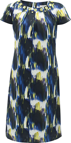 Leyla Dress, Navy/Citron - style: shift; neckline: round neck; sleeve style: capped; bust detail: added detail/embellishment at bust; predominant colour: navy; occasions: work, occasion; length: just above the knee; fit: straight cut; fibres: silk - 100%; sleeve length: short sleeve; texture group: silky - light; pattern type: fabric; pattern size: big &amp; busy; pattern: patterned/print; embellishment: jewels